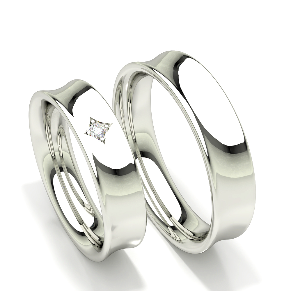 Concave Profile Diamond Studded Womens Wedding Band