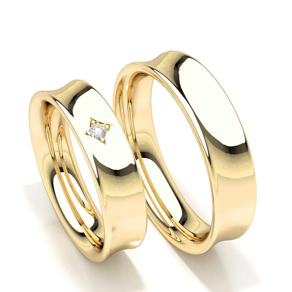 Ehering mit Diamant besetzten Damen mit konkavem Profil