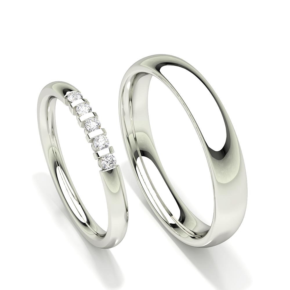 Alliance pour femme à cinq pierres et diamants ronds cloutés