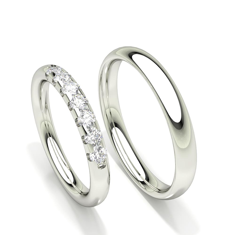 Bague de mariage pour femme à sept pierres et diamants