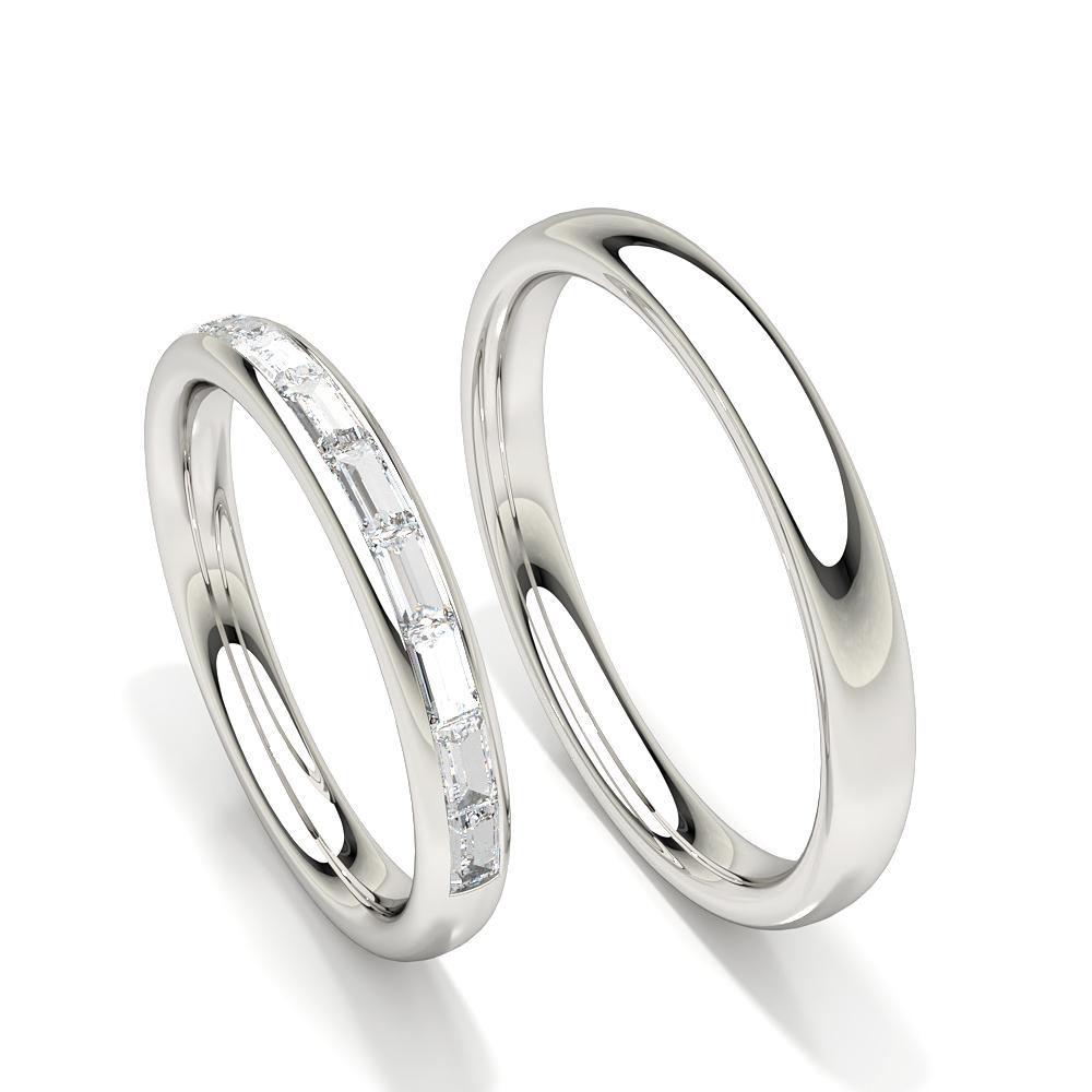 Bague de mariage pour femme ajustée confort avec diamants baguette réglage du canal