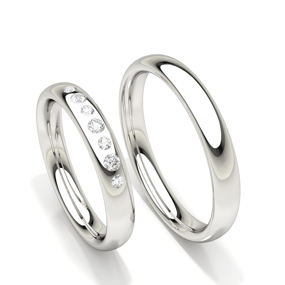 Alliance pour femme diamant rond serti affleurant