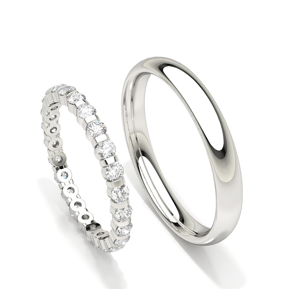 Alliance diamant rond serti canal pour femme