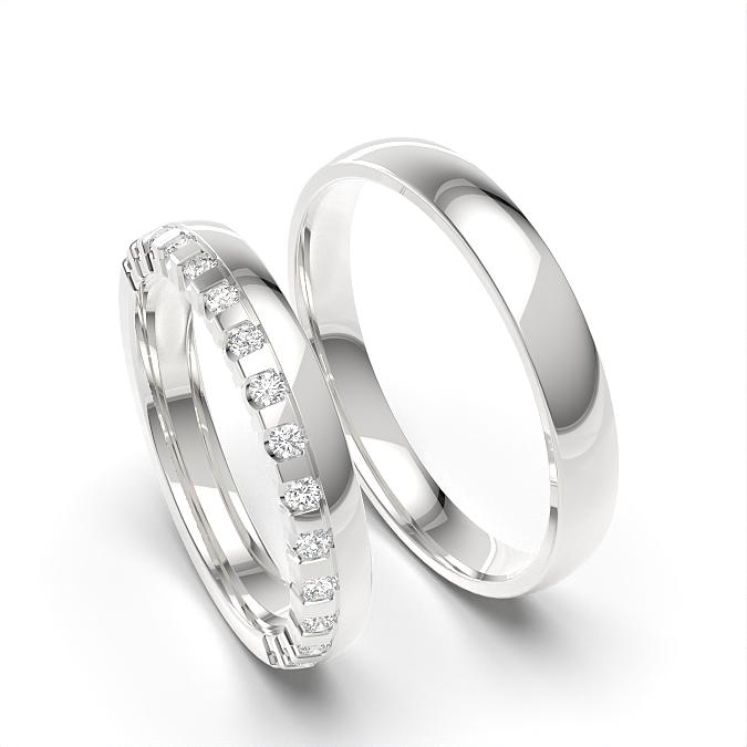 Diamant besetztes und einfaches Paar passendes Band