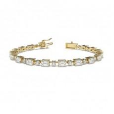 Bracelet rivière de diamants emeraude/rond serti 4 griffes