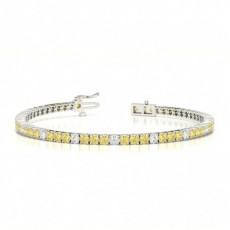 Bracelet riviere diamant jaune rond