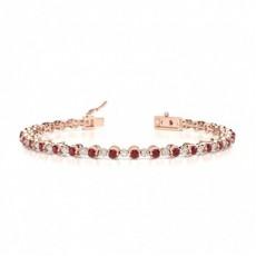 Bracelet de tennis rond en rubis à deux griffes