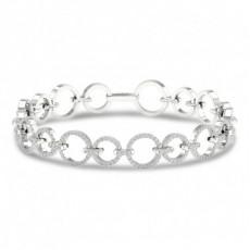 Bracelet à maillons diamants ronds serti micro-pavé