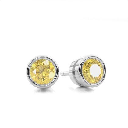 Boucles d'oreilles serti clos diamant jaune rond