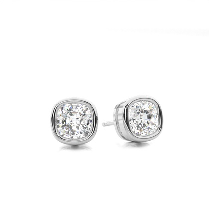 Cushion White Gold Stud Diamond Earrings