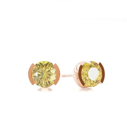 Rose Gold Yellow Diamond Earrings