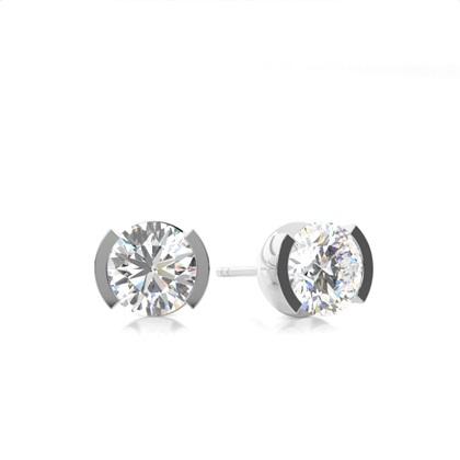Diamant Ohrstecker in einer halben Zargenfassung