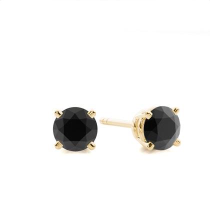 Gelbgold Schwarze Diamant Ohrringe