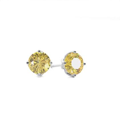 Boucles d'oreilles diamant jaune rond