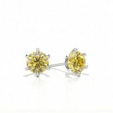 Boucles d'oreilles 6 griffes diamant jaune rond
