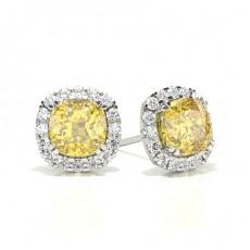 Puces d'oreilles halo diamant jaune coussin / serti 4 griffes
