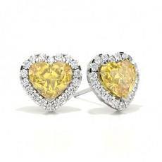 Puces d'oreilles halo diamant jaune coeur/ serti 3 griffes