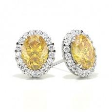 Puces d'oreilles halo diamant jaune ovale/ serti 3 griffes