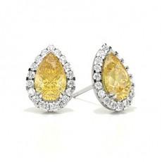 Puces d'oreilles halo diamant jaune poire/ serti 3 griffes