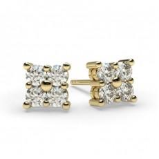Gelbgold Cluster Ohrringe