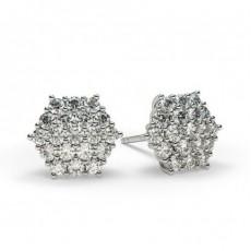 Weißgold Cluster Ohrringe