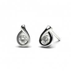 Runde Diamant Stud Ohrringe in einer Halbezargenfassung