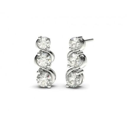 White Gold Round Diamond Journey Earrings