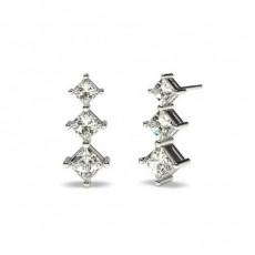 White Gold Princess Diamond Journey Earrings