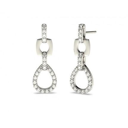 White Gold Round Diamond Drop Earrings