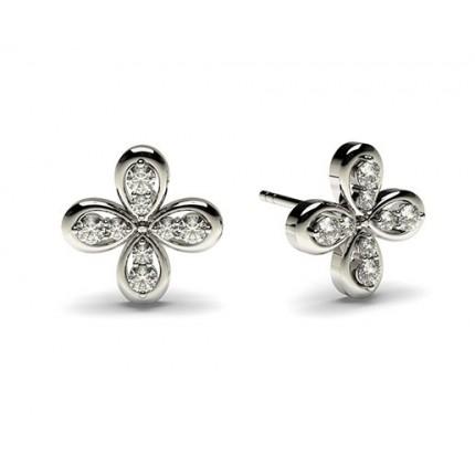 0.15ct. 3 Prong Setting Round Diamond designer Earrings