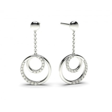 0.15ct. Prong Setting Round Diamond Delicate Earrings