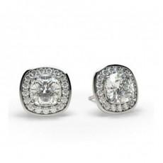 White Gold Cushion Diamond Halo Earrings