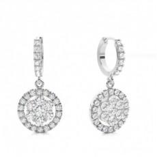 White Gold Cluster Earrings