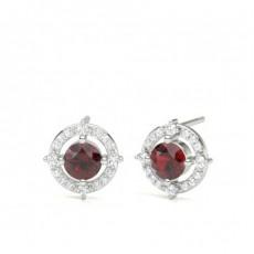Round Ruby Earrings