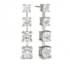 4 Prong Setting Round Diamond Designer Earrings