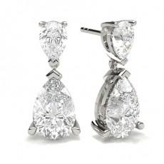 Birnen-Diamant-Designerohrringe in einer 3-Krappen-Fassung