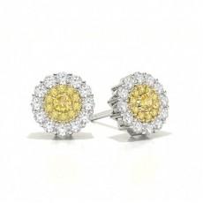 Boucle D'Oreille Halo Cluster Yellow Diamonds