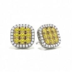 Round Yellow Diamond Earrings