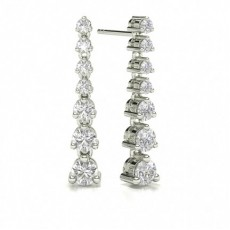 Round Stud Dangle Diamond Designer Earrings