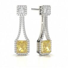 Boucles d'oreilles diamant jaune radiant