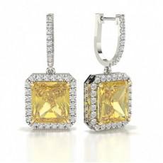Boucles d'oreilles diamant jaune halo radiant