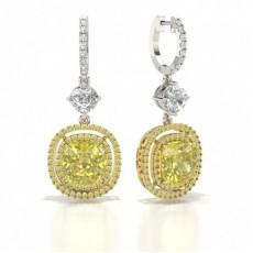 Boucles d'oreilles diamant jaune halo coussin