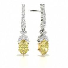 Boucles d'oreilles diamant jaune ovale 6 griffes