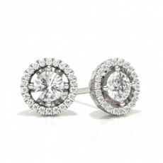 Boucle d'oreille halo diamant rond