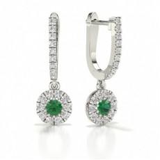 Boucle d'oreille ronde en diamant avec émeraude