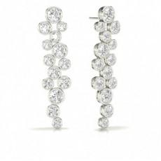 Full Bezel Setting Round Diamond Journey Earrings