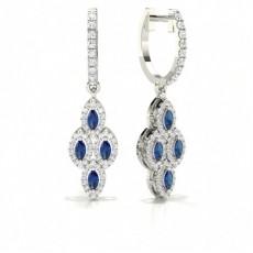 Boucle d'oreille Marquise en diamant avec pierre de saphir bleu