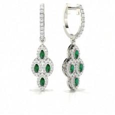 Boucle d'oreille Marquise en diamant avec émeraude