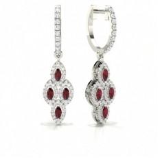 Boucle d'oreille Marquise en diamant avec rubis