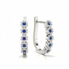 Boucle d'oreille ronde en diamant avec pierre de saphir bleu